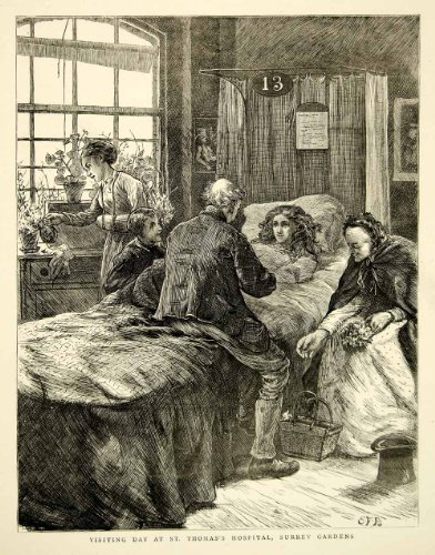 1871 Wood Engraving Art Victorian England St Thomas Hospital Surrey Gardens Bed - Original In-Text Wood Engraving - Engraving England Antique