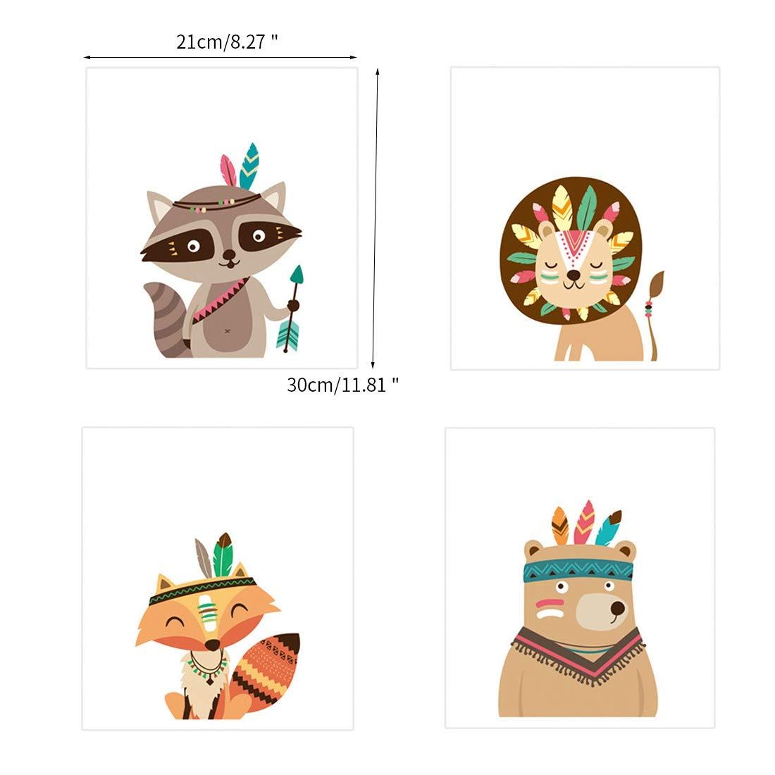 Pinji 11.81x8.27 Set de 4 Posters pour Chambre de B/éb/é ou denfant sans Cadre pour Fille Gar/çon Poster Animal Impression Art Affiches D/écorations Murales