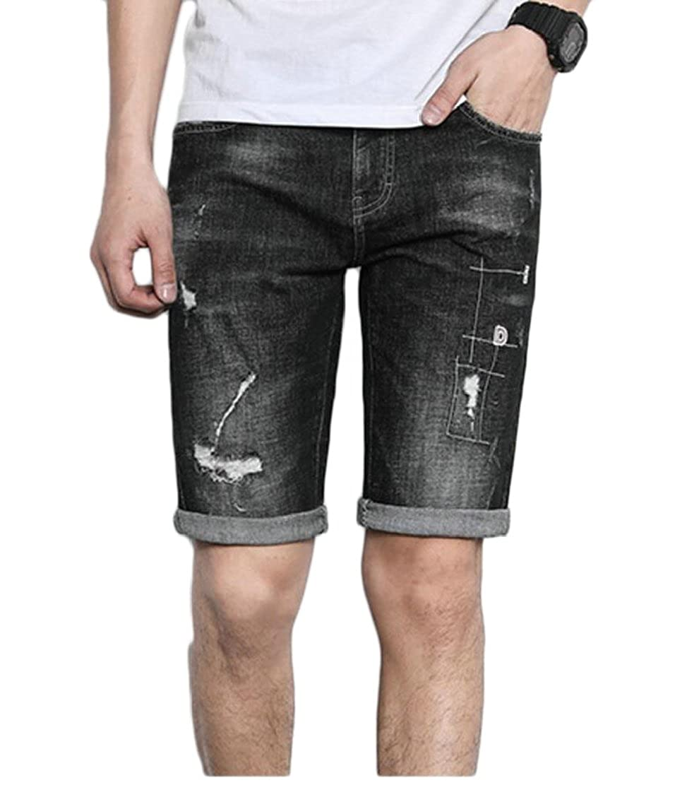 CYJ-shiba Mens Summer Destroyed Ripped Slim Fit Denim Shorts with Pocket
