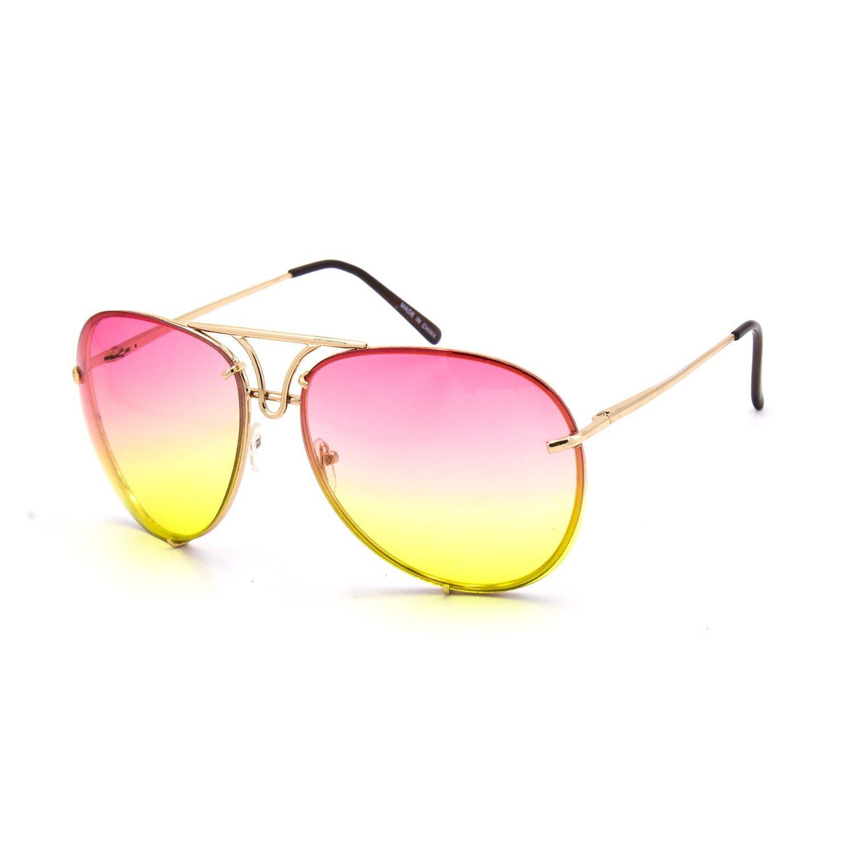 46b521414a high-quality Oversize Rimless Retro Vintage Style Oversize Mirror Lens Aviator  Sunglasses