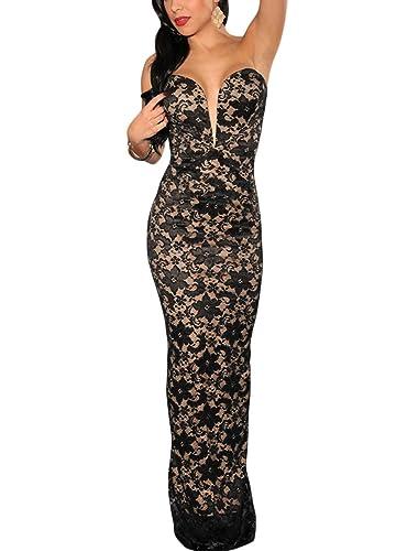 Toocool – Vestito donna abito lungo sirena bandeau pizzo nude elegante nuovo DL-1360