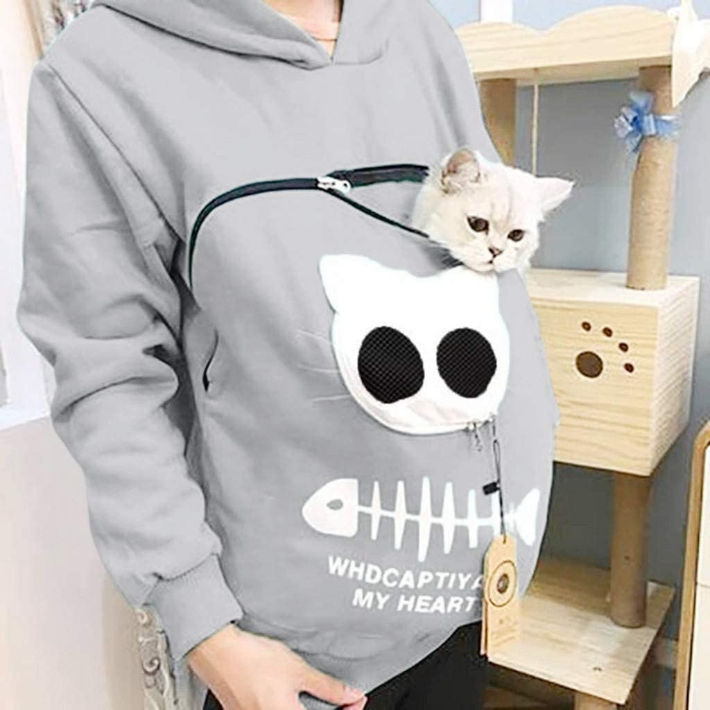 Moudozsdi Womens Big Pouch Hoodie Little Pet Dog Cat Carrier Sweatshirts Pullover Tops