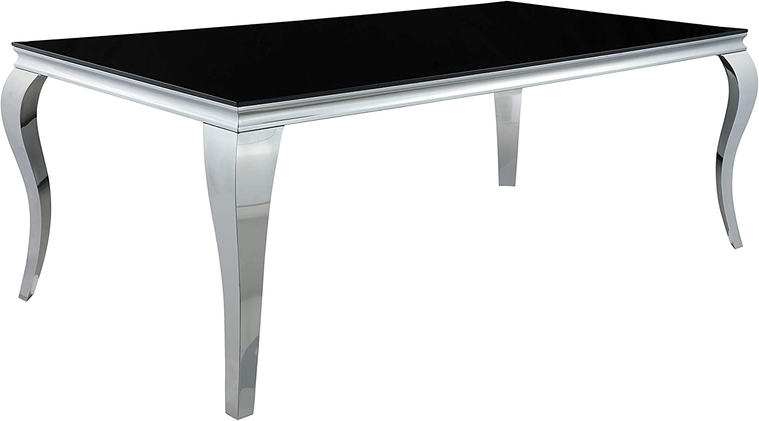 Coaster Home Furnishings Carone Rectangular Glass Top Black and Chrome Dining Table