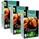Dilmah Caramel Flavored Ceylon Black Tea - 20 Tea Bags X 3 Pack - Sri Lanka Ceylon Dilmah Caramel Tea Real Tea