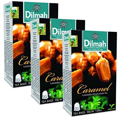 Dilmah Caramel Flavored Ceylon Black Tea - 20 Tea Bags X 3 Pack - Sri Lanka Ceylon Dilmah Caramel Tea Real Tea by Dilmah