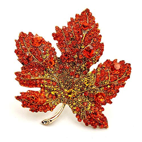 DREAMLANDSALES Vintage Stylish Full Micro Pave Yellow Orange Red Crystal Big Maple Leaf Brooch Pin Autumn Jewelry