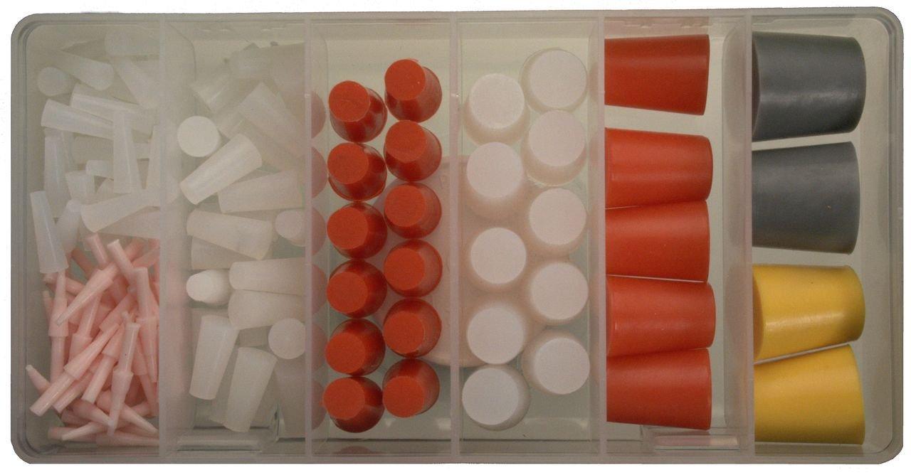 156 pc. High Temp Silicone Powder Coating Masking Tapered Plug Kit