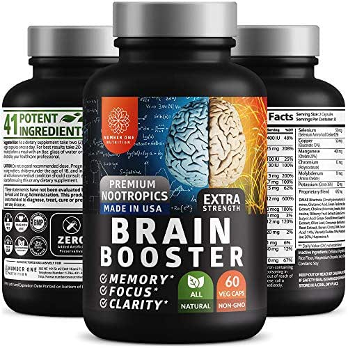 N1 Nutrition Brain Supplement Nootropics Booster - Enhances Memory, Concentration, Focus & Clarity - Premium Brain Booster with DMAE, Bacopa Monnieri, and Gingko Biloba, 60 Veggie Caps