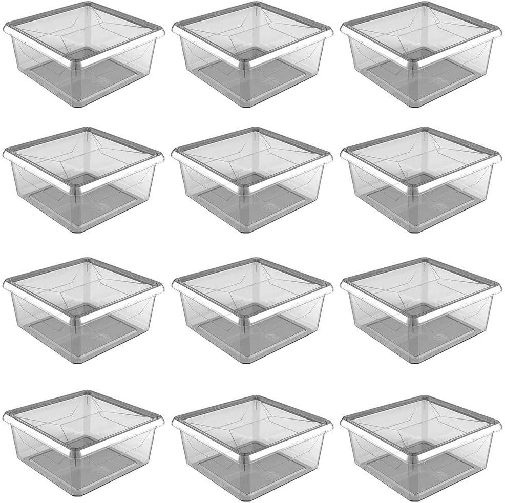 Ezy Storage Karton Medium 9 Quart Plastic Storage Container Box with Lid, BPA Free (12 Pack)