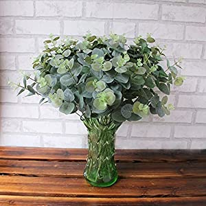 Alelife Artificial Fake Leaf Eucalyptus Leave Simulation Leaves Wedding Bouquet Party Home Decor (Green) 1