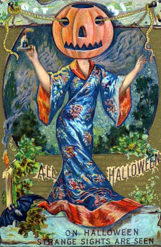 "Vintage Halloween Poster Made From Circa 1910 Postcard Pumpkin Kimono Strange Lady 18""x24"""