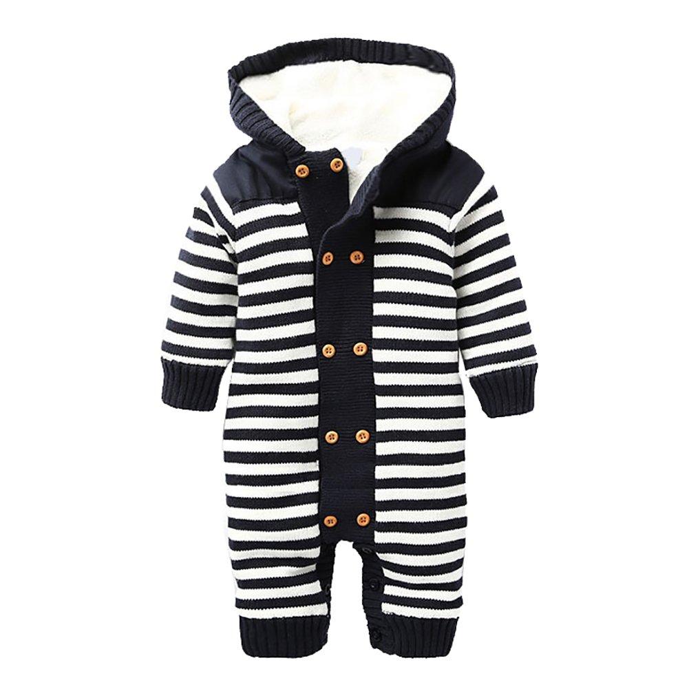 Free Fisher Baby Overall Strick getreift mit Kapuze CS0492