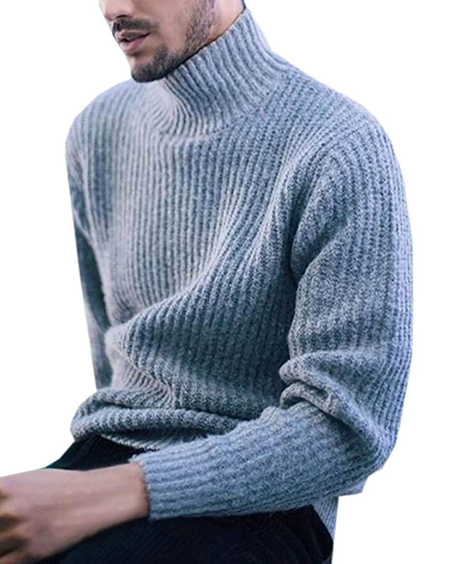XQS Mens Casual Slim Fit Pullover Sweaters Knitted Turtleneck Long Sleeve Tops