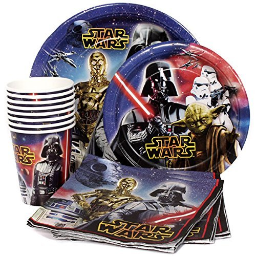 Star Wars Birthday Party Supplies Pack for 8 Guests - Lunch Plates, Dessert Plates, Lunch Napkins, -