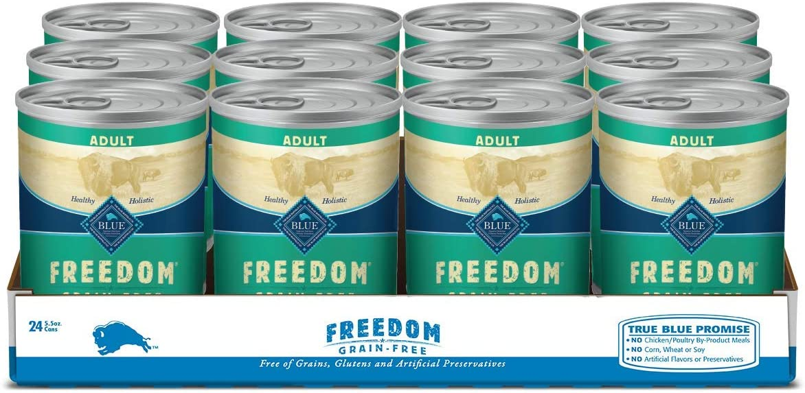 Blue Buffalo Freedom Grain Free Natural Adult Wet Dog Food Lamb 12.5oz cans (Pack of 12)