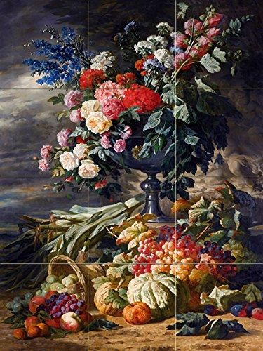 VASE with Flowers and Autumn Fruit by Lucas-Victor Schaefels Basket Grape Pumpkin Tile Mural Kitchen Bathroom Wall Backsplash Behind Stove Range Sink Splashback 3x4 4