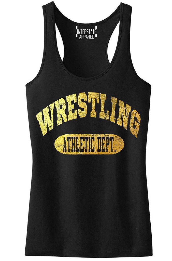 Interstate Apparel Inc Junior's Gold Foil Wrestling Athletic Dept. Black Racerback Tank Top T-Shirt X-Large Black