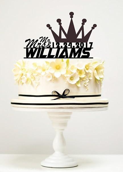 Amazon Com Kiskistonite Cake Toppers Crown Mr Mrs Williams Custom