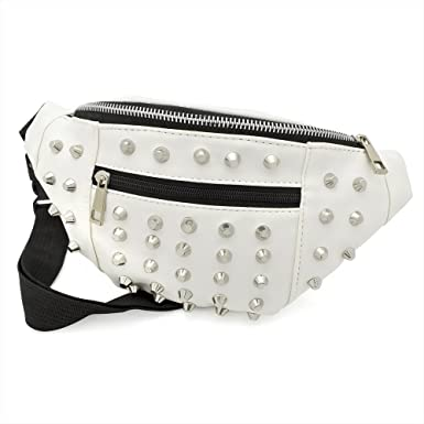 11eac97f19 White Faux Leather Studded Bum Bag / Fanny Pack - Festivals /Club Wear/  Holiday Wear: Amazon.co.uk: Clothing
