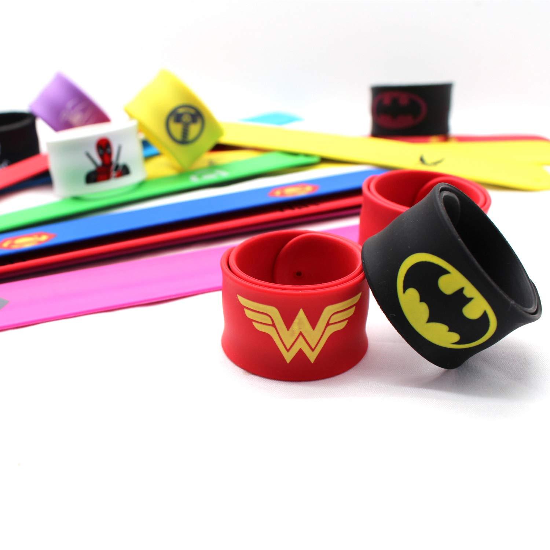 SINAN 20er Pack Superhelden Armb/änder Slap Bands Party Supplies Snap Armb/änder Party Bag F/üllstoffe Armb/änder f/ür Kinder Jungen Erwachsene Geburtstag Kinder Superhelden Party Favors Toys