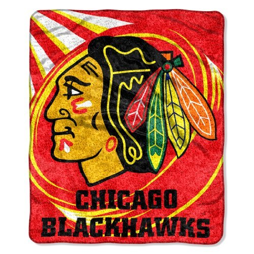 The Northwest Company Officially Licensed NHL Chicago Blackhawks Puck Sherpa on Sherpa Throw Blanket, 50'' x 60'', Multi Color by The Northwest Company
