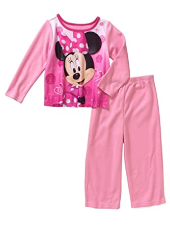 Sleepwear Minnie Mouse Toddler Girls Flannel Pajamas 2 Piece Set Pants Long Sleeves Disney Clothing, Shoes & Accessories
