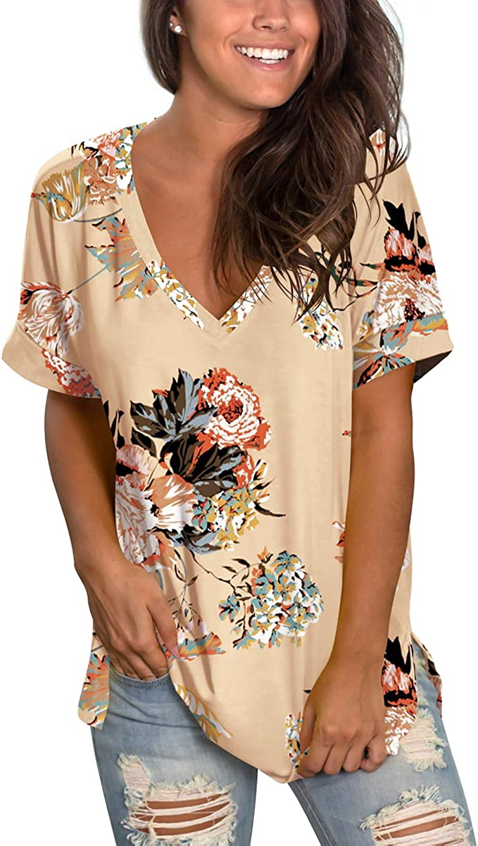 SAMPEEL Womens Floral Tops Short Sleeve V Neck Tee T Shirt Printed Side Split Tunic