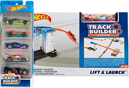 Hot Wheels Track Builder Pack Incluye 5 Coches y el Lanzador de ...