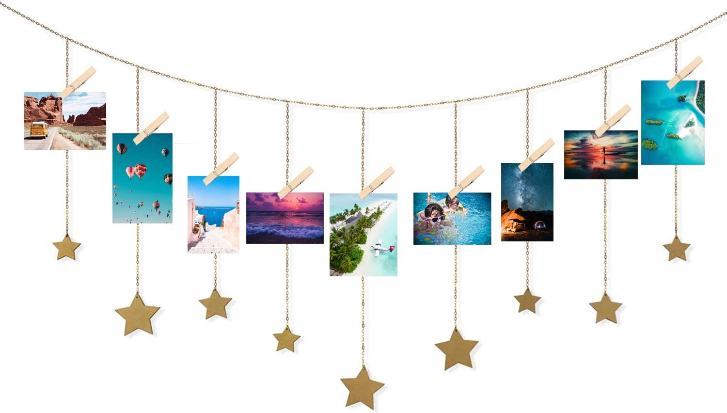 Wood Stars Decor Wall Decorations, VIWIPOW Hanging Photo Display with Chains Picture Frame Collage with 25 Wood Clips Wall Art Decoration for Wedding, Bedroom, Home, Living Room Apartment or Christmas