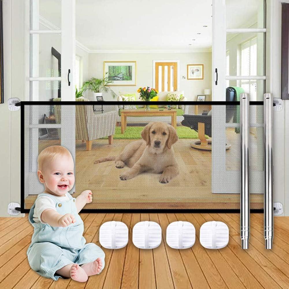 SEGMINISMART Puerta Mágica para Perros,Puerta mágica para Mascotas o bebés,Barrera Seguridad Perros,Barrera para Perro,Portón portátil y Plegable para Separar bebés y Mascotas