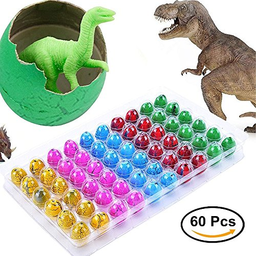 Blu7ive Hatch and Grow Easter Dinosaur Eggs Novelty Hatching Dinosaur Toys Dinosaur Party Supplies for Kids (60 Pack) ()
