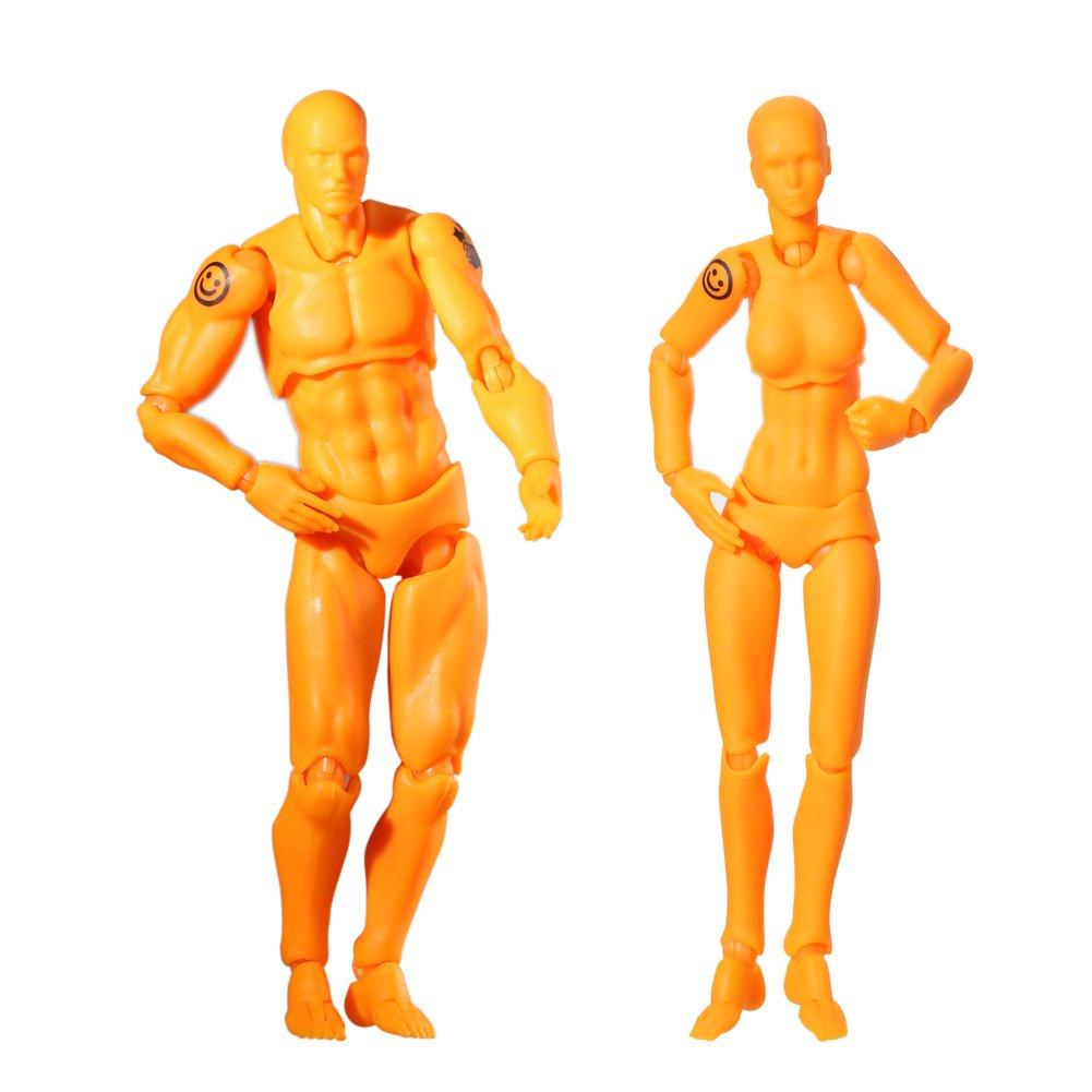 Action Figuren Modell, Starall menschlichen Mannequin Mann + Frau Action Figure Set mit Zubehör Kit, ideal für Zeichnung, Skizzieren, Malerei, Künstler, Cartoon-Figuren Aktion ideal für Zeichnung Künstler