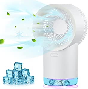 Personal Air Cooler, Battery Operated Portable Air Conditioner Fan, Rechargeable Space Evaporative Cooler with 3 Speeds, Night Light, 400ml Water Tank Cooling Fan for Room Bedroom Office Dorm Camping