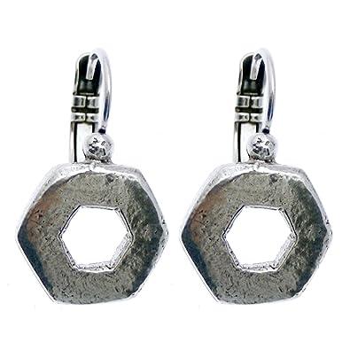 Boucle D Oreille Dormeuse Metal Argente Collection Colmena Amazon