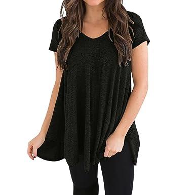 a0b5b094517a Turkey Women s Plus Size Blouse Short Sleeve V-Neck Irregular Hem Loose Casual  Tee T