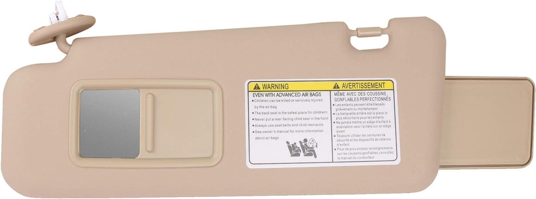 MOSTPLUS 743200E050E0 743200E051E0 7432048180E Beige Sun Visor Driver Left Side Compatible for 2008-2013 Toyota Highlander with Vanity Light
