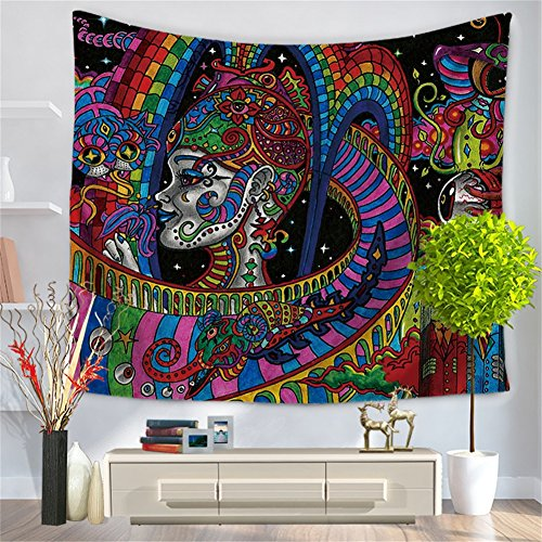 (Chengsan Psychedelic Tapestry,Abstract Unusual Figure with Color and Form Details Hippie Arabesque Retro Pattern, Wall Hanging for Bedroom Living Room Dorm)