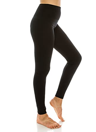 e6eb24f692476a Amazon.com: Sofra Ladies High Waist Fleece Leggings Regular & Plus: Clothing
