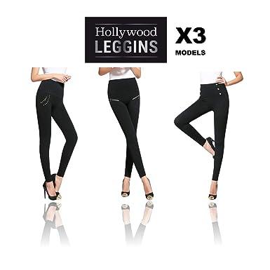 Hollywood Leggings - Los Nuevos Leggins Adelgazantes con los que parecerás Más Delgada al Instante, 3 modelos por el precio de 1! Talla M: Amazon.es: Ropa y ...