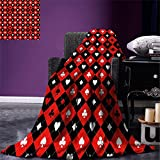smallbeefly Poker Tournament Decorations Throw Blanket Card Suit Chess Board Classic Checkered Pattern Symbols Warm Microfiber All Season Blanket for Bed or Couch Red Black White