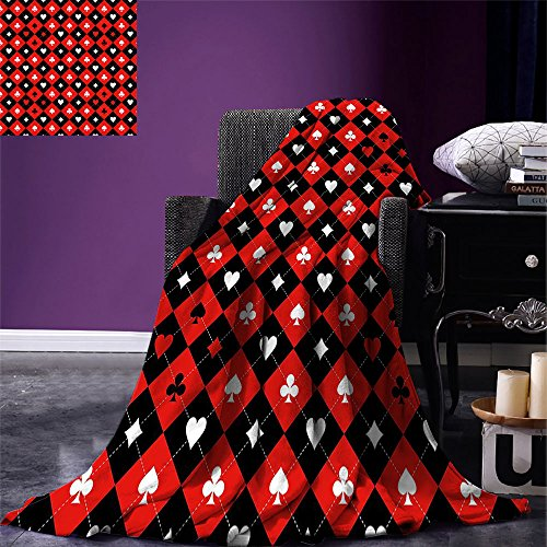 smallbeefly Poker Tournament Decorations Digital Printing Blanket Card Suit Chess Board Classic Checkered Pattern Symbols Summer Quilt Comforter Red Black White Cincinnati Reds Comfy Throw