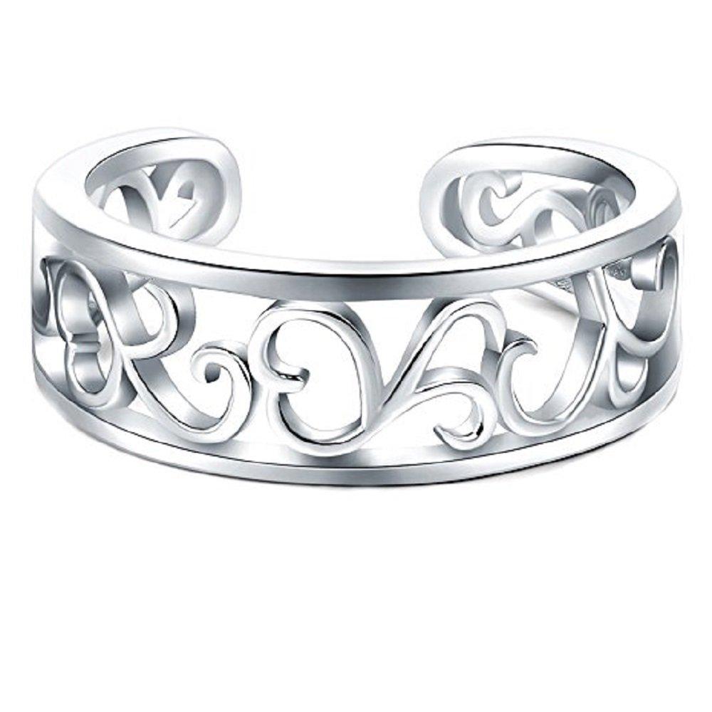 3djewels Women's 14K White Gold Fn .925 Silver BoRuo Flower Hawaiian Lea Adjustable Toe Ring SNSTR230