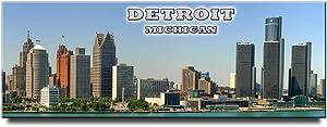 Detroit panoramic fridge magnet Michigan travel souvenir