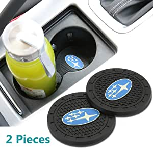 Wall Stickz Auto Sport 2.75 Inch Diameter Oval Tough Car Logo Vehicle Travel Auto Cup Holder Insert Coaster Can 2 Pcs Pack fit Subaru Accessories