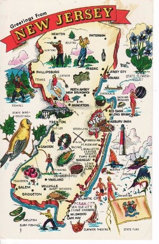 Cool New Jersey State Map Glossy Poster Picture Photo devils nets