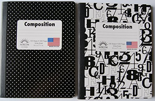 Black and White Patterned Wide Ruled Composition Notebook - Pack of 2 by Norcom