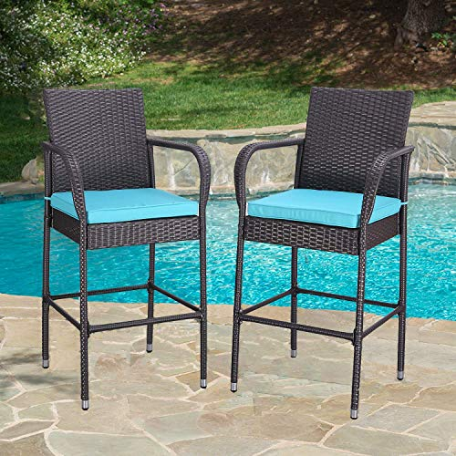 HTTH 2 Pieces Patio Bar Stools All-Weather Wicker Outdoor Furniture Chair, Bar Chairs with Cushions & Armrest & Footrest | Garden Pool Lawn Backyard | Steel Frame| Barstools