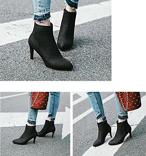 ZQ@QX Tipp der High Woche für feine mit High der Heels und stilvolle Seite Reißverschluss blanken Stiefel, Stiefel schwarz bcf5e9