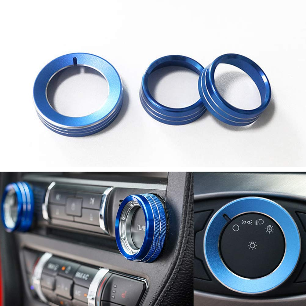 TopDall Red Aluminum Headlight Volume Tune Control Knob Cover Ring Trim Interior Accessories for Ford Mustang