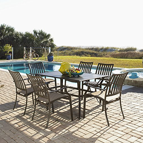 Panama Jack Outdoor Island Breeze 7-Piece Slatted Dining Group Set, Includes 6 Armchairs and 36 by 60-Inch Rectangular Aluminum Slatted Table (Hospitality Chairs Dining)